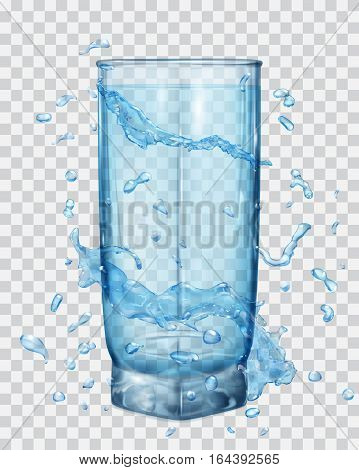 Water Splashes In Light Blue Colors Around A Transparent Glass With Light Blue Water