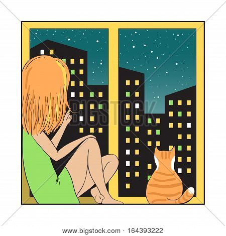 Girl and red cat sitting on the windowsill looking out the window. Night city is visible in the window. Vector illustration in cartoon style.