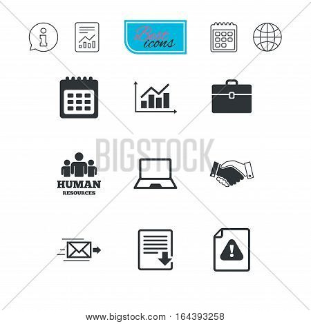 Office, documents and business icons. Human resources, handshake and download signs. Chart, laptop and calendar symbols. Report document, calendar and information web icons. Vector