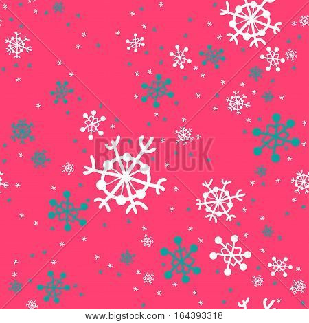 Seamless pattern of snowflakes. White and turquoise snowflakes hand-drawn on magenta background. Snowfall.