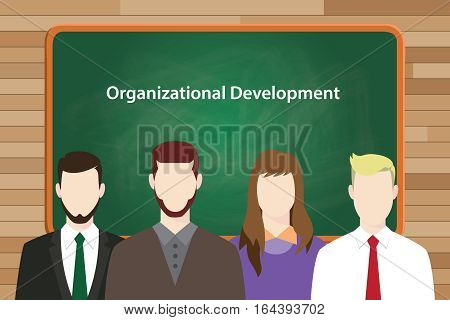 Organizational development program illustrated in vector picture vector