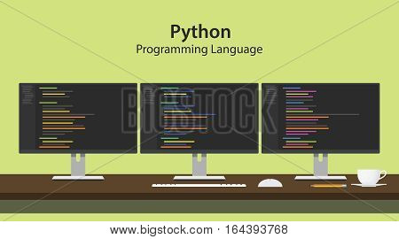 python programming language illustration with program code on three row monitor programmer workspace vector