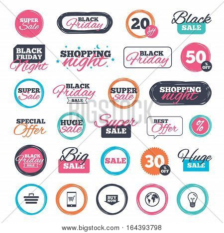Sale shopping stickers and banners. Online shopping icons. Smartphone, shopping cart, buy now arrow and internet signs. WWW globe symbol. Website badges. Black friday. Vector