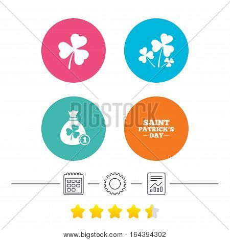 Saint Patrick day icons. Money bag with clover and coin sign. Trefoil shamrock clover. Symbol of good luck. Calendar, cogwheel and report linear icons. Star vote ranking. Vector