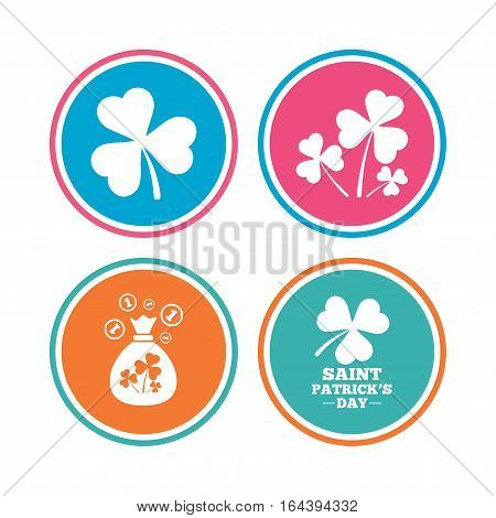 Saint Patrick day icons. Money bag with clover and coins sign. Trefoil shamrock clover. Symbol of good luck. Colored circle buttons. Vector