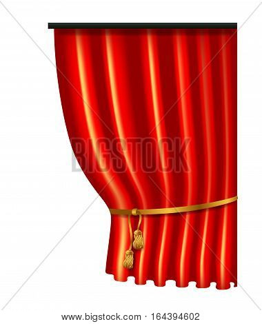 3d red luxury silk curtain, realistic interior decoration velvet draperies, vector illustration isolated on white