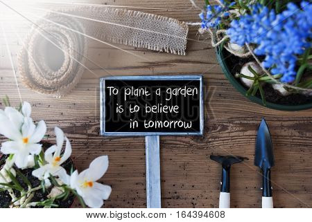 Sign With English Quote To Plant A Garden Is To Believe In Tomorrow. Sunny Spring Flowers Like Grape Hyacinth And Crocus. Gardening Tools Like Rake And Shovel. Fabric Ribbon. Aged Wooden Background