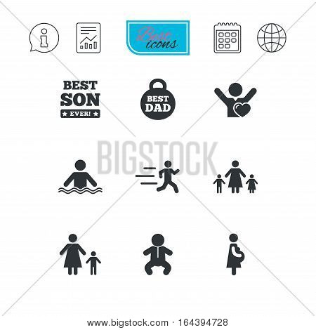 People, family icons. Swimming, baby and pregnant woman signs. Best dad, runner and fan symbols. Report document, calendar and information web icons. Vector