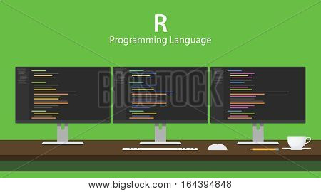 Illustration of R programming language code displayed on three monitor in a row at programmer workspace vector
