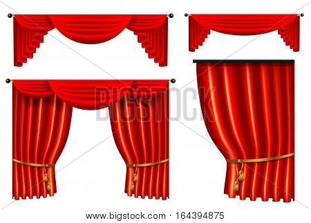 set of 3d red luxury silk curtain, realistic interior decoration velvet draperies collection, vector illustration isolated on white