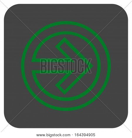 Import glyph icon. Image style is a flat icon symbol on a rounded square button green and gray colors.