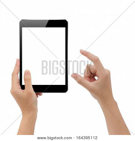 hand holding mock-up digital tablet and finger isolated element on white background clipping path inside