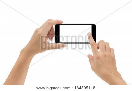 hand holding phone mobile and touching screen isolated on white background mock-up smartphone matte black color