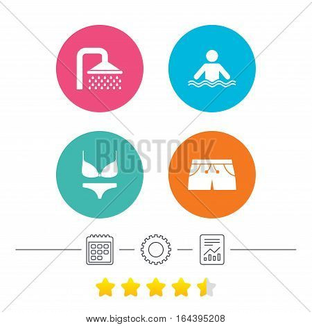 Swimming pool icons. Shower water drops and swimwear symbols. Human stands in sea waves sign. Trunks and women underwear. Calendar, cogwheel and report linear icons. Star vote ranking. Vector