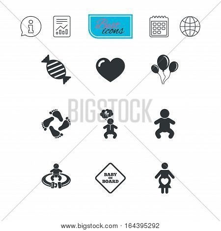 Pregnancy, maternity and baby care icons. Candy, strollers and fasten seat belt signs. Footprint, love and balloon symbols. Report document, calendar and information web icons. Vector