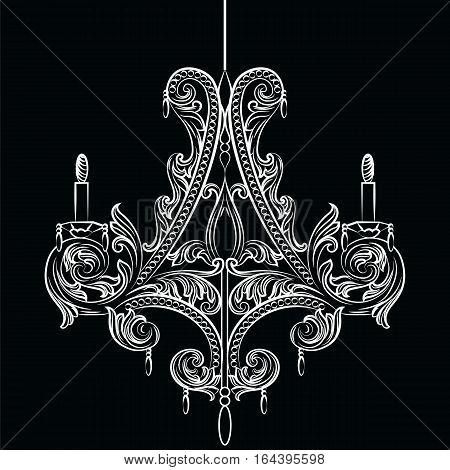 Exquisite Baroque Classic chandelier. Luxury decor accessory design. Vector illustration sketch