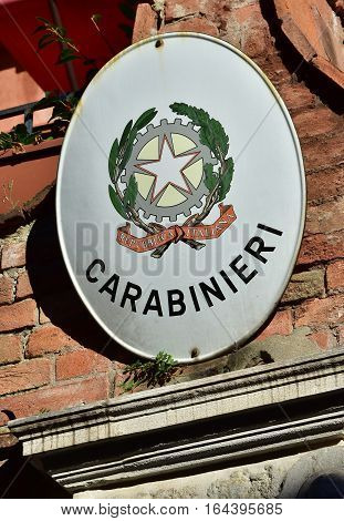 VENICE, ITALY - OCTOBER 6: Carabinieri station sign the italian military police OCTOBER 6, 2016 in Venice, Italy