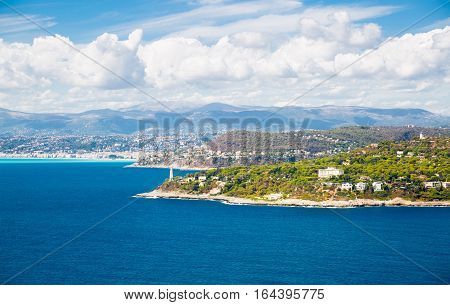 Cote d'Azur France. Beautiful panoramic aerial view city of Nice, France. Luxury resort of French riviera