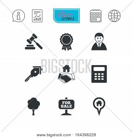 Real estate, auction icons. Handshake, for sale and calculator signs. Key, tree and award medal symbols. Report document, calendar and information web icons. Vector