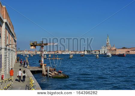 VENICE, ITALY - OCTOBER 7: Giudecca Canal in Venice Lagoon with Saint George Basilica , OCTOBER 7, 2016 in Venice, Italy