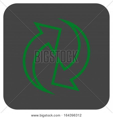 Refresh Arrows glyph icon. Image style is a flat icon symbol in a rounded square button green and gray colors.