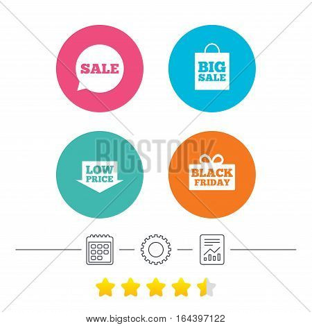 Sale speech bubble icon. Black friday gift box symbol. Big sale shopping bag. Low price arrow sign. Calendar, cogwheel and report linear icons. Star vote ranking. Vector