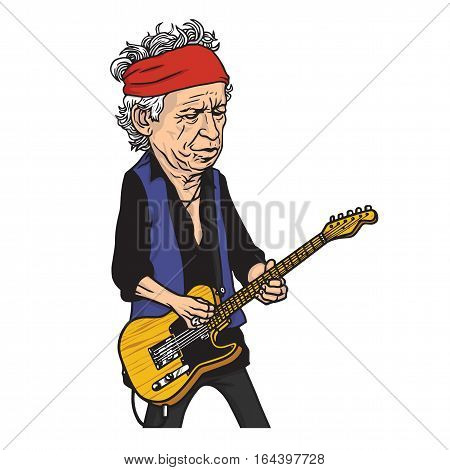 Keith Richards of The Rolling Stones Cartoon Caricature Portrait Illustration. January 9, 2017