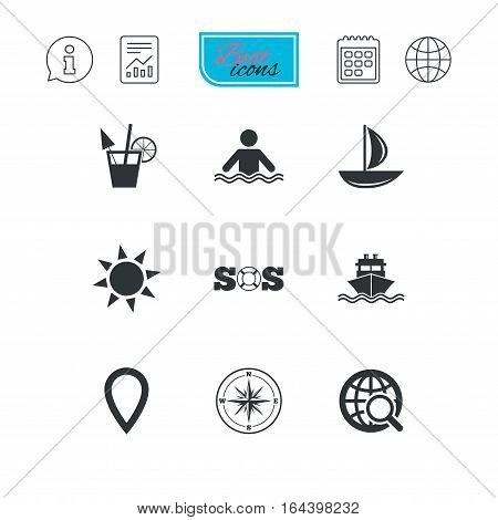 Cruise trip, ship and yacht icons. Travel, cocktail and sun signs. Sos, windrose compass and swimming symbols. Report document, calendar and information web icons. Vector