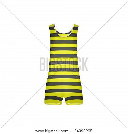 Striped retro swimsuit in yellow and black design on white background