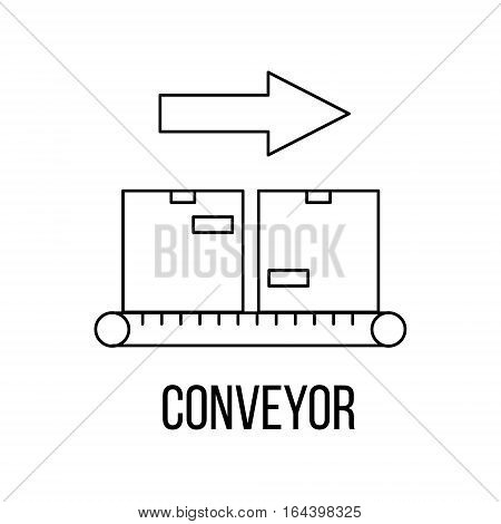 Conveyor icon or logo line art style. Vector Illustration.