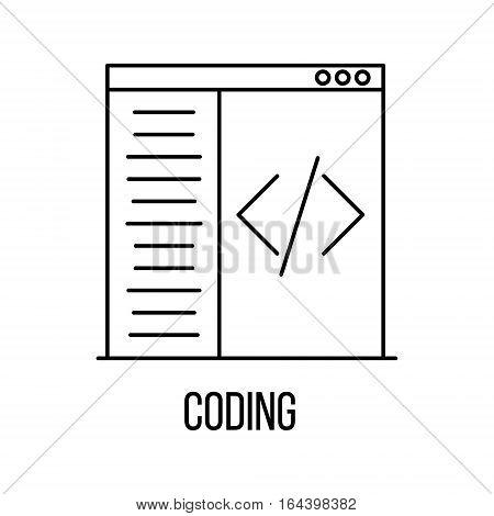 Coding icon or logo line art style. Vector Illustration.