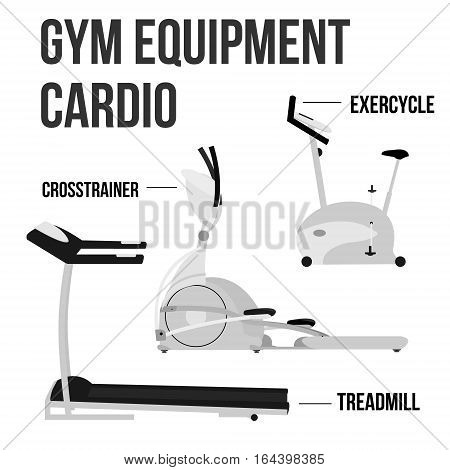 Set of Cardio Gym Equipment in modern flat style