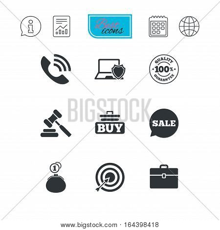 Online shopping, e-commerce and business icons. Auction, phone call and sale signs. Cash money, case and target symbols. Report document, calendar and information web icons. Vector