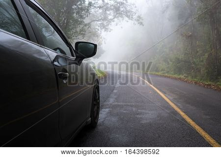Foggy road. bad weather driving. careful driving concept.