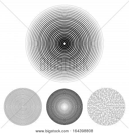Concentric circle elements. Set of 4 version. Black and white color ring. Vector illustration for sound wave on a white background.