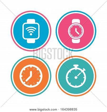 Smart watch wi-fi icons. Mechanical clock time, Stopwatch timer symbols. Wrist digital watch sign. Colored circle buttons. Vector