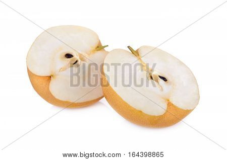 half cut snow pear or Fengsui pear on white background