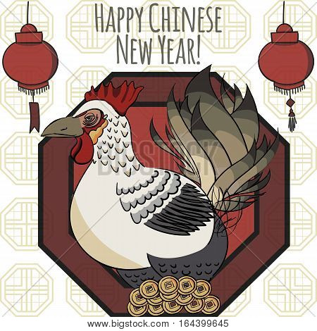 Vector illustration of rooster, symbol of 2017 on the Chinese calendar. Illustration of cock, decorated with traditional chinese ornament. Vector element for New Year's design.