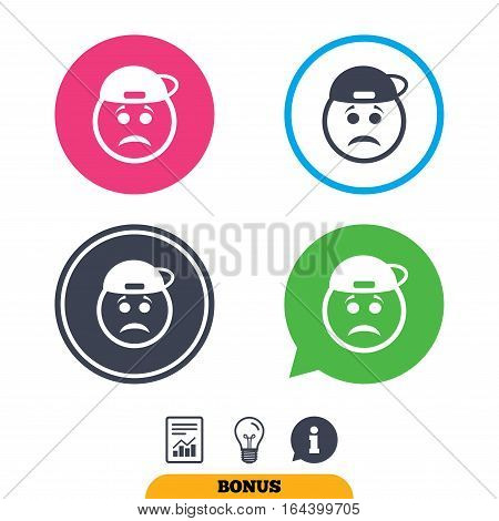 Sad rapper face sign icon. Sadness depression chat symbol. Report document, information sign and light bulb icons. Vector
