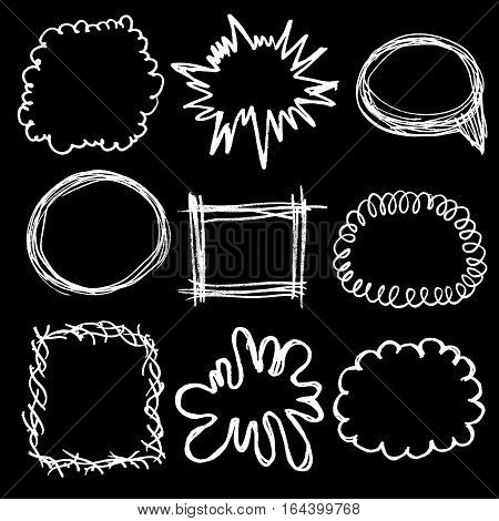 Raster monochrome chalky set of speech bubbles, funny frames and text separators on black. Design element, text decoration and framing, printed goods.