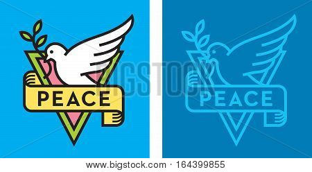 Dove of Peace Logo Vector logo or badge with bird holding branch with leaves and peace banner. Flat design with thick outline.