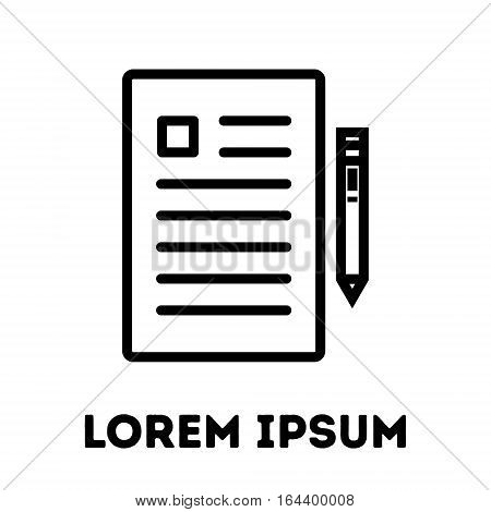 Document or paper icon. Modern line art design. For logo, web sites, brochures, apps and others. Vector illustration on a white background.