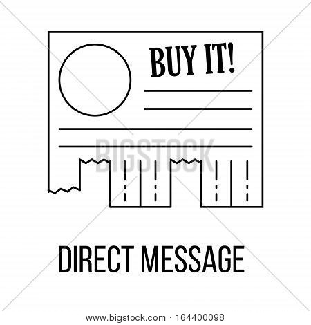 Direct message icon or logo line art style. Vector Illustration.