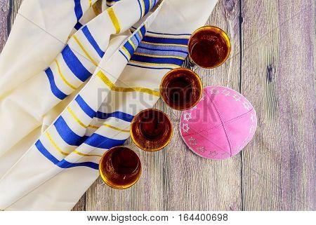 Jewish holiday Sabbath Prayer Shawl Tallit table set for Shabbat with