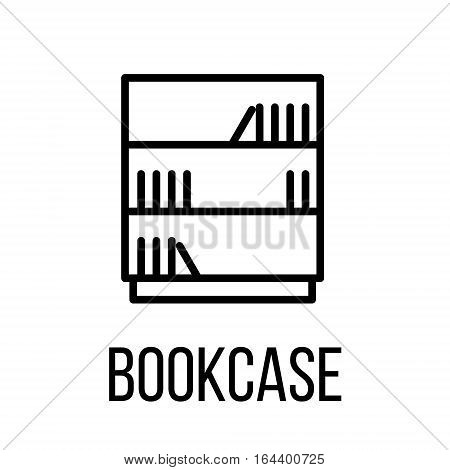 Bookcase icon or logo in modern line style. High quality black outline pictogram for web site design and mobile apps. Vector illustration on a white background.