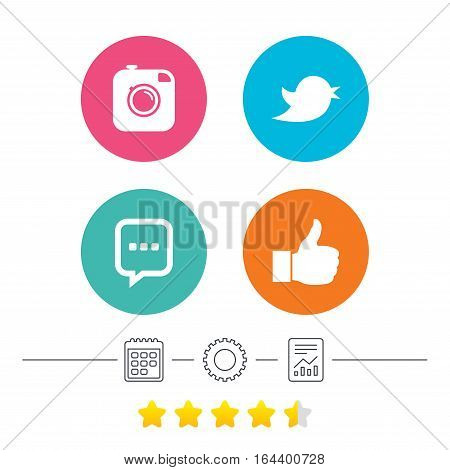 Hipster photo camera icon. Like and Chat speech bubble sign. Hand thumb up. Bird symbol. Calendar, cogwheel and report linear icons. Star vote ranking. Vector