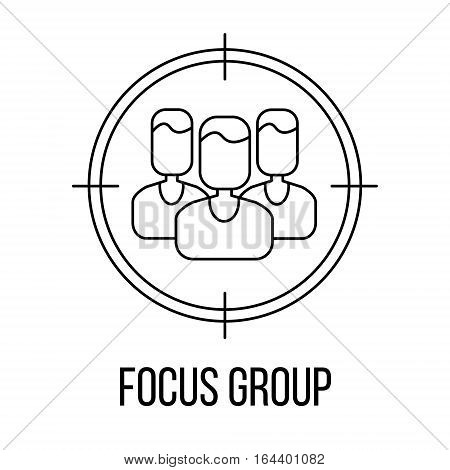 Focus group icon or logo line art style. Vector Illustration.