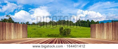 Wooden Wall And Floor Empty With Fresh Green Forest Against Blue Sky And Cloudy.