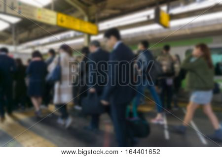 Abstract blur Shinjuku train station.Shinjuku is one of the important district with one of the biggest train station in Japan.
