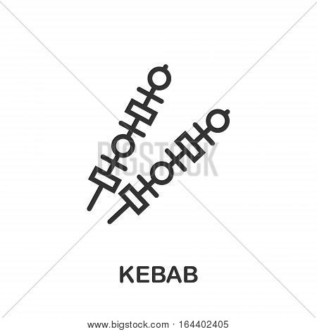 Kebab icon or logo line art style. Vector Illustration.